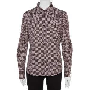 Etro Maroon Cotton Floral Print Full Sleeve Shirt L