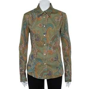 قميص إيترو أكمام طويلة مطبوع قطن أخضر مقاس كبير (لارج)