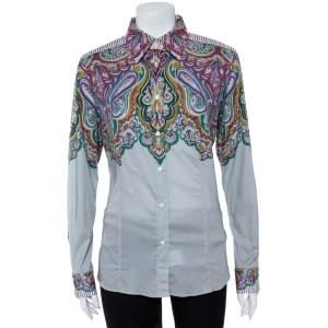 قميص إيترو أكمام طويلة نصف مطبوع و نصف غير مزخرف قطن رصاصي مقاس كبير (لارج)