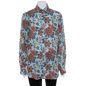 Etro  Blue Linen Floral Print Slim Fit Shirt M