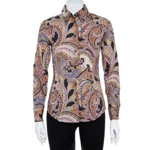 Etro Multicolor Cotton Print Fitted Shirt S
