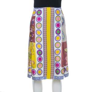 Etro Multicolor Floral Print Silk Pleated Skirt M