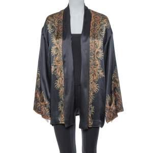 Etro Black Satin Paisley Print Open Front Kimono Jacket M