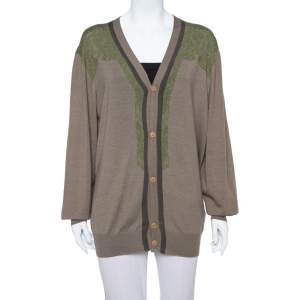 Etro Brown Abstract Printed Wool Button Front Cardigan 2XL