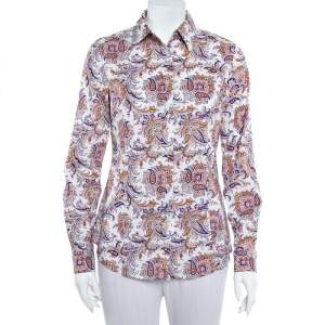Etro White Paisley Printed Cotton Button Front Shirt M