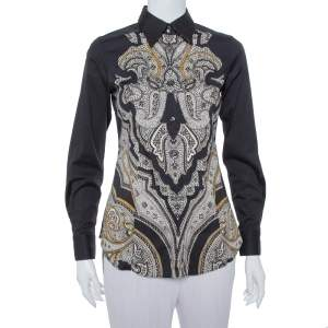 Etro Black Abstract Paisley printed Cotton Button Front Shirt S