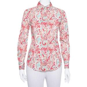Etro Red Paisley Printed Stretch Cotton Button Front Shirt S