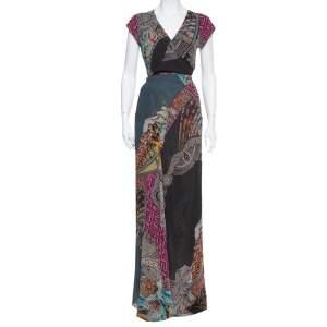 فستان ماكسي إيترو حرير شيفون متعدد الألوان نمط ملتف واسع مقاس متوسط - ميديوم
