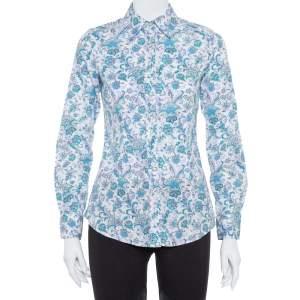 قميص إيترو أزرار أمامية قطن مطبوع مورد متعدد الألوان مقاس صغير (سمول)