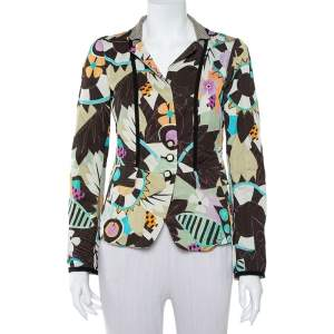 Etro Multicolor Abstract Printed Synthetic & Cotton Button Front Blazer M