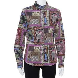 قميص إيترو مجسم أزرار أمامية مطبوع بايزلي متعدد الألوان مقاس كبير (لارج)