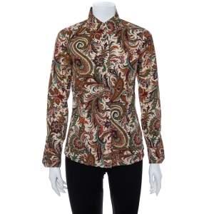 Etro Multicolor Paisley Print Stretch Cotton Button Front Shirt S