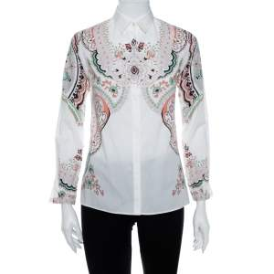 قميص إيترو أزرار أمامية قطن مرن مطبوع بايزلي أبيض مقاس صغير (سمول)