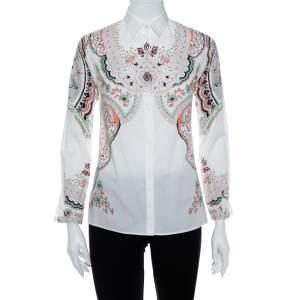 Etro White Paisley Print Stretch Cotton Button Front Shirt S