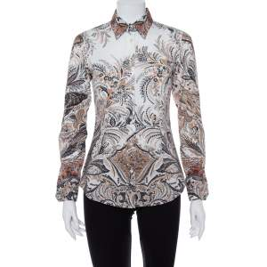 Etro Ivory Floral Print Stretch Cotton Button Front Shirt S