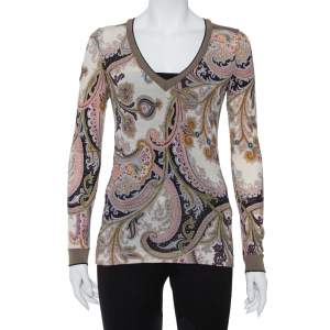 Etro Multicolor paisley Printed Knit Long Sleeve Top S