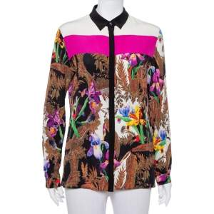 Etro Multicolor Floral Printed Silk Long Sleeve Shirt M