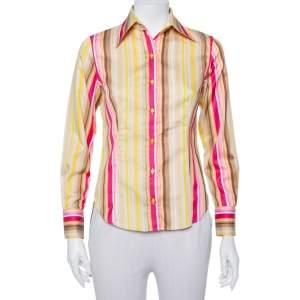 قميص إيترو قطن مخطط متعدد الألوان مجسم بأزرار أمامية مقاس صغير - سمول