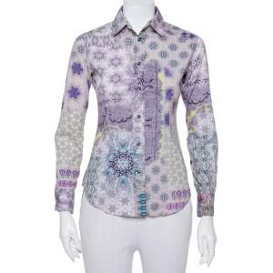 قميص إيتو قطن بنفسجي مطبوع بأزرار أمامية مقاس صغير - سمول