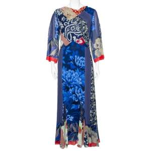 Etro Blue Multiprinted Silk Maxi Dress M