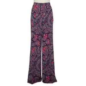 Etro Multicolor Floral Paisley Printed Silk Palazzo Pants XL