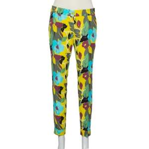 Etro Multicolor Floral Printed Cotton Tapered Trousers M