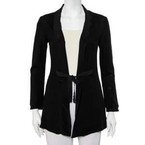 Etro Black Wool & Silk Trim Front Tie Detail Jacket S