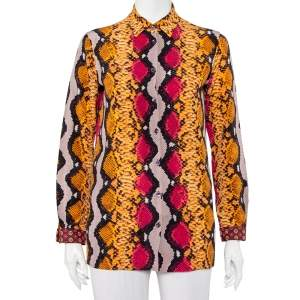 قميص إيترو أزرار أمامية حرير طباعة جلد ثعبان متعدد الألوان مقاس صغير