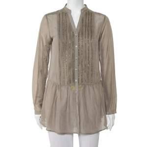 Etro Grey Cotton & Silk Beaded Detail Button Front Tunic M