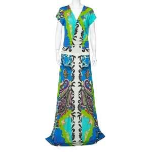 Etro Multicolor Jersey Draped Faux Wrap Maxi Dress L