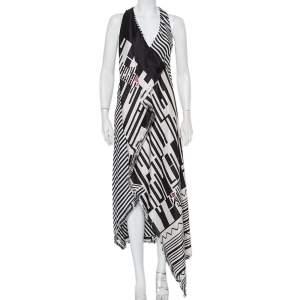 Etro Multicolor Printed Silk Draped Asymmetric Hem Maxi Dress S