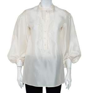 Etro Cream Silk Half Button Oversized Sleeve Detail Tunic M