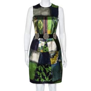 Etro Multicolor Printed Satin Embellished Waist Belt Detail Pleated Sheath Dress M