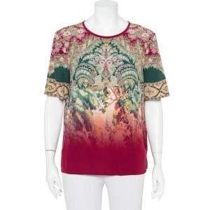 Etro Multicolor Paisley Printed Silk Ombre Effect Short Sleeve Top M