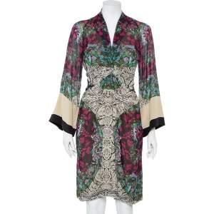 Etro Multicolor Paisley Printed Silk Draped Detail Midi Dress M