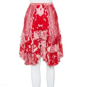 Etro Red Printed Silk Tiered Mini Skirt S