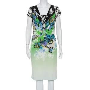 فستان ميدي إيترو حرير مطبوع متعدد الألوان بديرابيه مقاس كبير - لارج