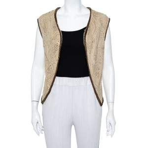 Etro Beige Perforated Suede Bead Detail Open Front Shrug S