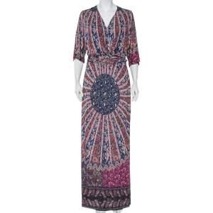Etro Multicolor Printed Knit Draped Waist Detail Maxi Dress L