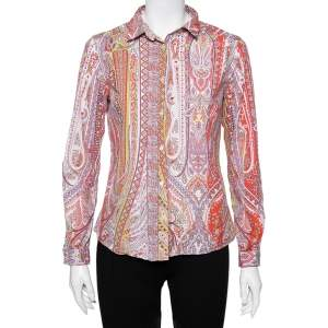 Etro Multicolor Printed Cotton Button Front Shirt M