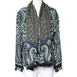 Etro Black Geometric Paisley Print Silk Belted Kimono Jacket M