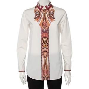 قميص ايترو قطن مطبوع بايزلي أبيض أزرار أمامية مقاس وسط (ميديوم)