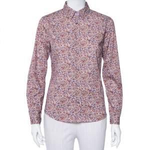 Etro Purple Floral Paisley Printed Cotton Button Front Shirt M