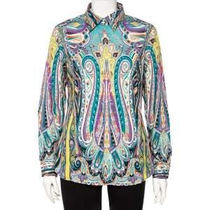 قميص إيترو أزرار أمامية قطن طباعة بيزلي متعدد الألوان مقاس كبير