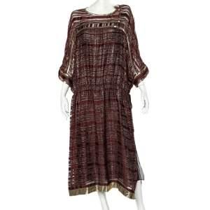 Etro Burgundy Striped Lurex Detail Chiffon Waist Tie Detail Oversized Dress M