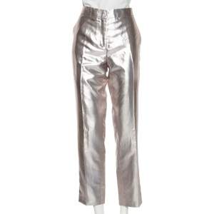 Etro Metallic Silk Straight Leg Trousers L