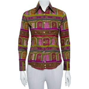 Etro Multicolor Paisley Printed Cotton Button Front Fitted Shirt S