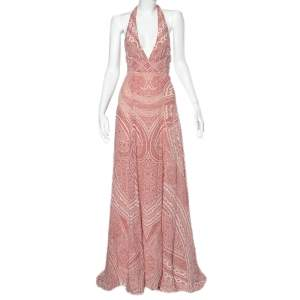 Etro Red & White Printed Silk Halter Neck Flared Maxi Dress S