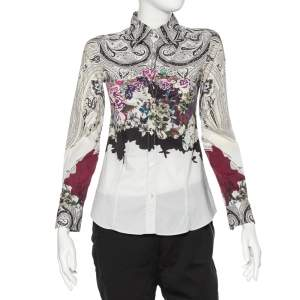 Etro Multicolor Printed Cotton Button Front Fitted Shirt S