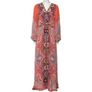 Etro Pink Paisley Printed Silk Long Sleeve Maxi Dress XL